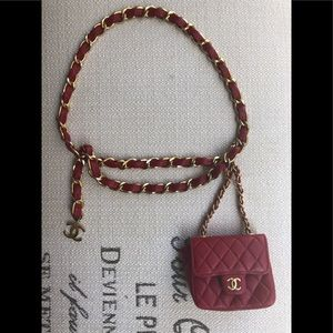 Chanel Micro Mini Bag Chain Belt Bum Bag Charm Red